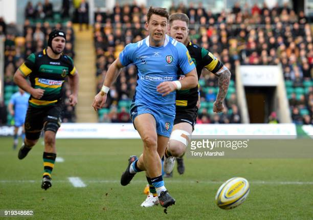 Alex Lewington of London Irish chases the ball in to score a try during the Aviva Premiership match between Northampton Saints and London Irish at...