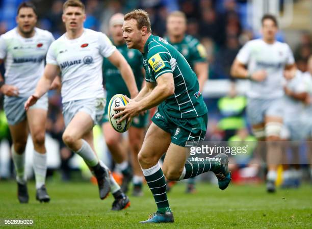 Alex Lewington of London Irish in action during the Aviva Premiership match between London Irish and Saracens at Madejski Stadium on April 29 2018 in...
