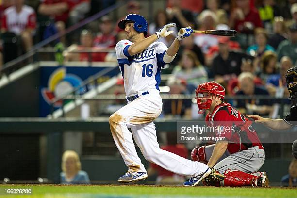 Alex Liddi of Italy bats against Canada during the World Baseball Classic First Round Group D game on March 8 2013 at Chase Field in Phoenix Arizona