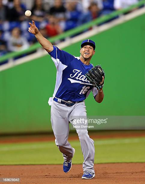 Alex Liddi of Italy makes a throw to first during a World Baseball Classic second round game against Puerto Rico at Marlins Park on March 13 2013 in...