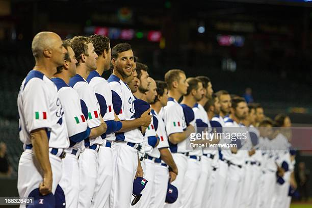 Alex Liddi of Italy smiles against Canada during the World Baseball Classic First Round Group D game on March 8 2013 at Chase Field in Phoenix Arizona