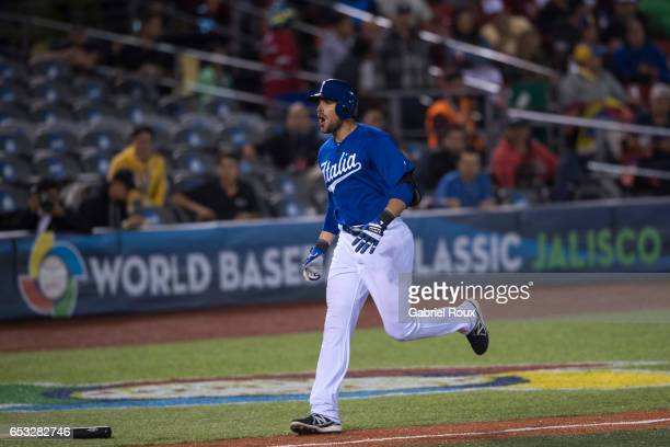 Alex Liddi of Team Italy rounds the bases after hitting a home run in the ninth inning during Game 6 of Pool D of the 2017 World Baseball Classic...