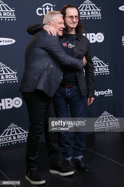 Alex Lifeson and Geddy Lee of Rush attend the 32nd Annual Rock Roll Hall Of Fame Induction Ceremony at Barclays Center on April 7 2017 in New York...
