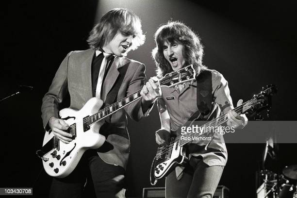 Alex Lifeson and Geddy Lee of Rush perform on stage at Ahoy on 14th November 1981 in Rotterdam Netherlands