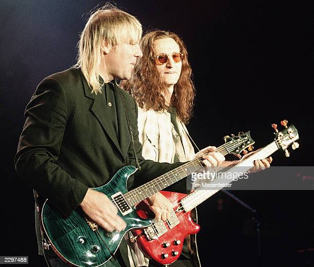 Alex Lifeson and Geddy Lee of Rush performing at Shoreline Amphitheater in Mountain View Calif on March 31st 1992 Image By Tim Mosenfelder/ImageDirect