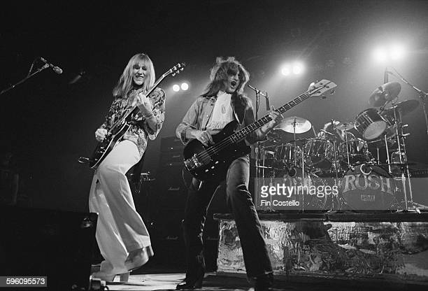 Alex Lifeson and Geddy Lee performing with Canadian progressive rock group Rush at the Civic Center in Springfield Massachusetts during the band's...