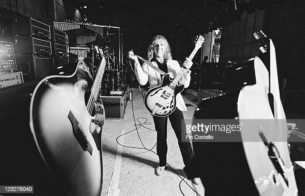 Alex Lifeson guitarist with Canadian rock band Rush poses during a soundcheck ahead of the band's gig at Shepperton Studios in Shepperton Surrey...