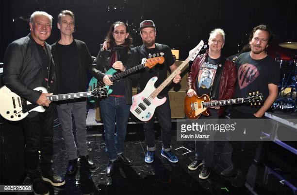Alex Lifeson of RUSH Matt Cameron Geddy Lee of RUSH Jeff Ament of Pearl Jam Mike McCready of Pearl Jam and Eddie Vedder of Pearl Jam attend 32nd...