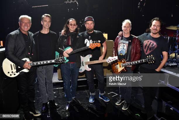 Alex Lifeson of Rush Matt Cameron Geddy Lee of Rush Jeff Ament of Pearl Jam Mike McCready of Pearl Jam and Eddie Vedder of Pearl Jam attend 32nd...