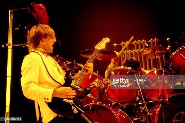 Alex Lifeson of the band Rush performs at the Rosemont Horizon in Rosemont Illinois November 19 1982