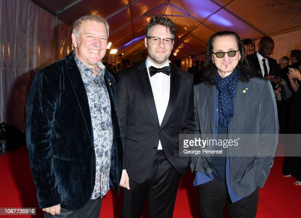 Alex Lifeson Seth Rogen and Geddy Lee attend 2018 Canada's Walk Of Fame Awards held at Sony Centre for the Performing Arts on December 1 2018 in...
