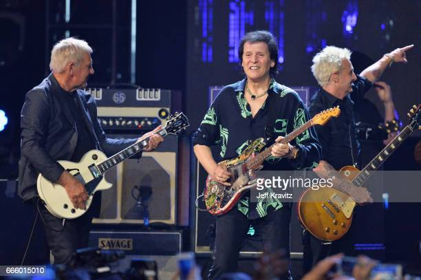 Alex Lifeson Trevor Rabin and Mike McCreadyonstage at the 32nd Annual Rock Roll Hall Of Fame Induction Ceremony at Barclays Center on April 7 2017 in...