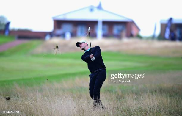 Alex Lodge of Calcot Park Golf Club plays his second shot on the 1st fairway during Day Two of the Galvin Green PGA Assistants' Championship at...