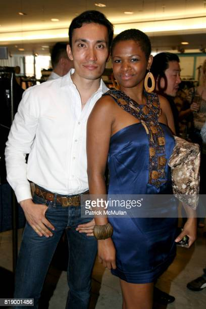 Alex Lopez and Sonya Holley attend Denim before Dark a celebration of the launch of HUDSON COLLECTION at Barney's on May 1 2010 in New York