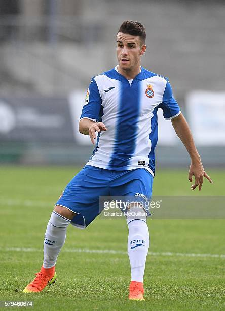 Alex Lopez Moreno of Espanyol during the third and fourth place play off Super Cup NI game at Ballymena Showgrounds on July 23 2016 in Ballymena...