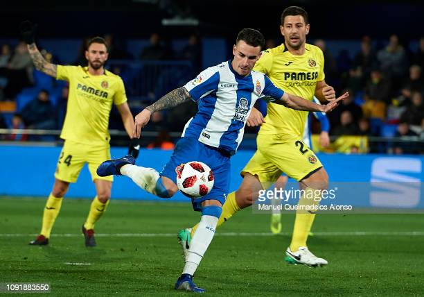 Alex Lopez of RCD Espanyol scores his sides second goal during the Copa del Rey Round of 16 first leg match between Vllarreal CF and RCD Espanyol at...