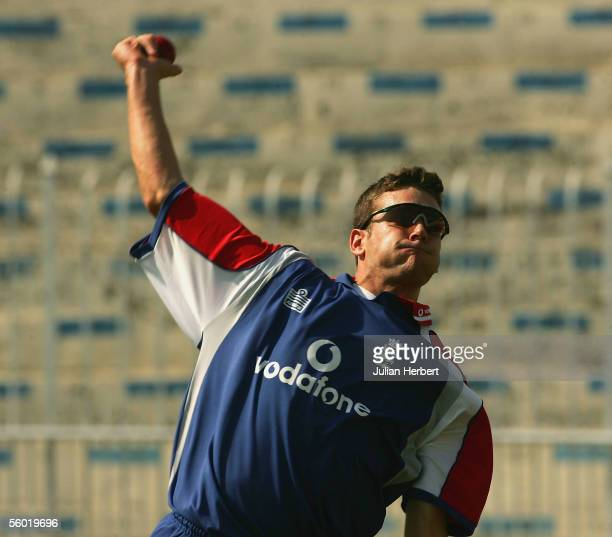 Alex Loudon takes part in a net session at Rawalpindi Cricket Stadium on the second day of the winter tour on October 27 2005 in Islamabad Pakistan