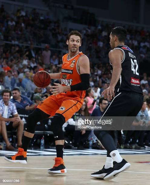 Alex Loughton of the Cairns Taipans controls the ball during the round 14 NBL match between Melbourne United and the Cairns Taipans at Hisense Arena...