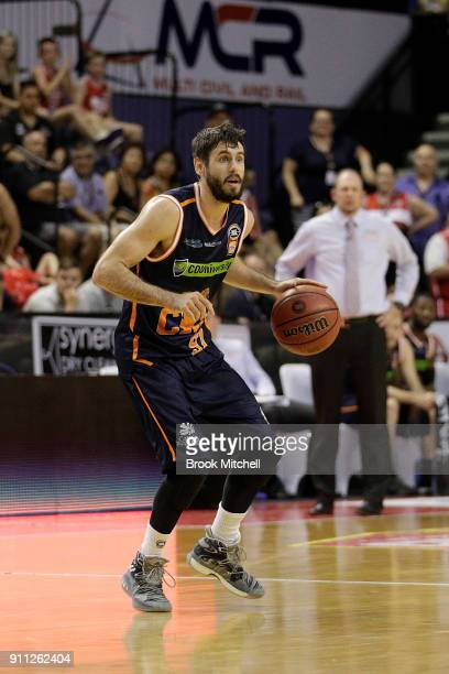 Alex Loughton of the Cairns Taipans controls the ball during the round 16 NBL match between the Illawarra Hawks and the Cairns Taipans at Wollongong...