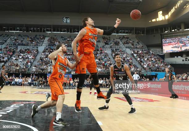 Alex Loughton of the Cairns Taipans looks to get the ball during the round 14 NBL match between Melbourne United and the Cairns Taipans at Hisense...