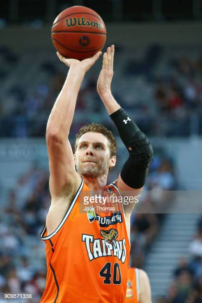 Alex Loughton of the Cairns Taipans shoots a free throw during the round 14 NBL match between Melbourne United and the Cairns Taipans at Hisense...