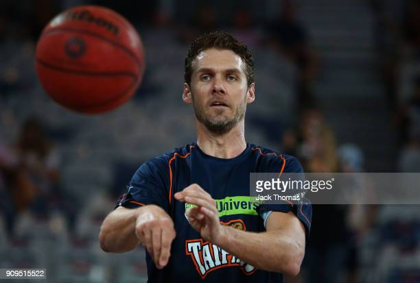 Alex Loughton of the Cairns Taipans warms up prior to the round 14 NBL match between Melbourne United and the Cairns Taipans at Hisense Arena on...