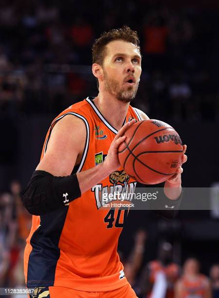 Alex Loughton of the Taipans attempts a free throw shot during the round 17 NBL match between the Cairns Taipans and the Brisbane Bullets at Cairns...