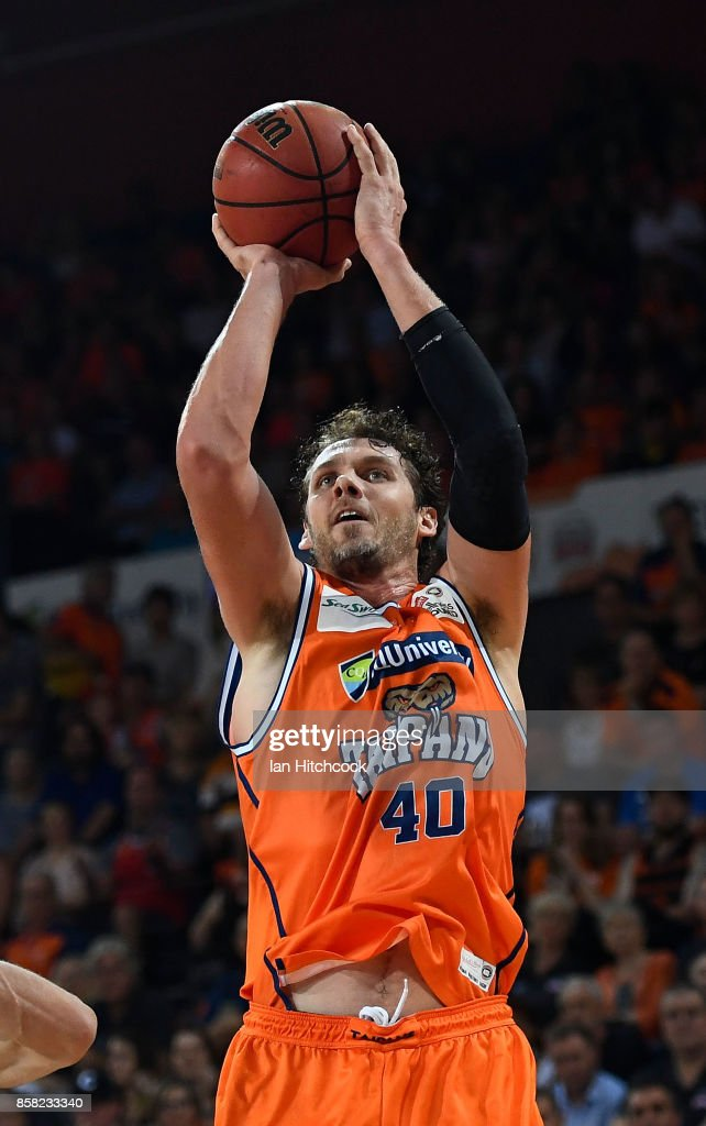 Alex Loughton of the Taipans attempts a jump shot during the round one NBL match between the Cairns Taipans and the Illawarra Hawks at Cairns Convention Centre on October 6, 2017 in Cairns, Australia.