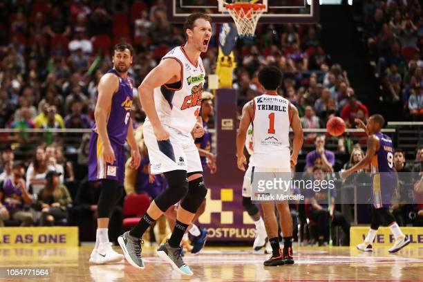 Alex Loughton of the Taipans celebrates a basket during the round three NBL match between the Sydney Kings and the Cairns Taipans at Qudos Bank Arena...