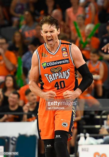 Alex Loughton of the Taipans celebrates after scoring a three point shot during the round three NBL match between the Cairns Taipans and the Adelaide...