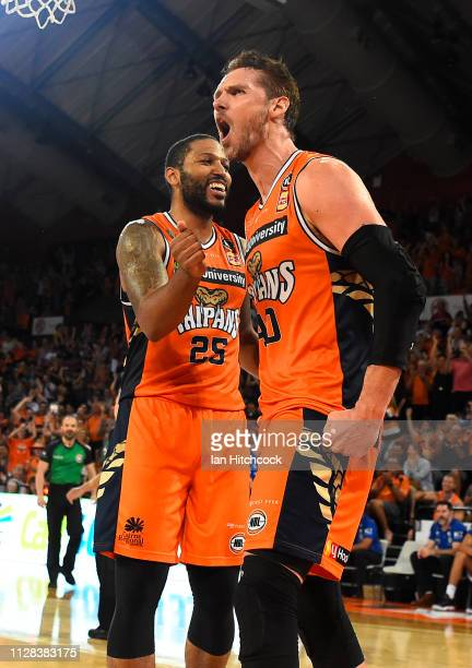 Alex Loughton of the Taipans celebrates after scoring during the round 17 NBL match between the Cairns Taipans and the Brisbane Bullets at Cairns...