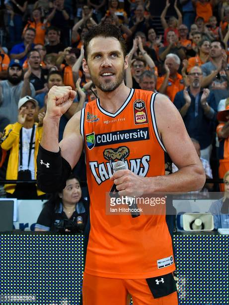 Alex Loughton of the Taipans celebrates after winning and playing his last home game before he retires at the end of the round 17 NBL match between...