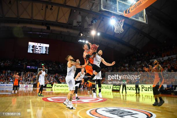 Alex Loughton of the Taipans drives to the basket during the round 17 NBL match between the Cairns Taipans and the Brisbane Bullets at Cairns...
