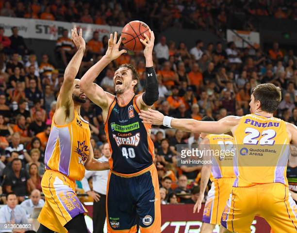 Alex Loughton of the Taipans drives to the basket during the round 17 NBL match between the Cairns Taipans and the Sydney Kings at Cairns Convention...