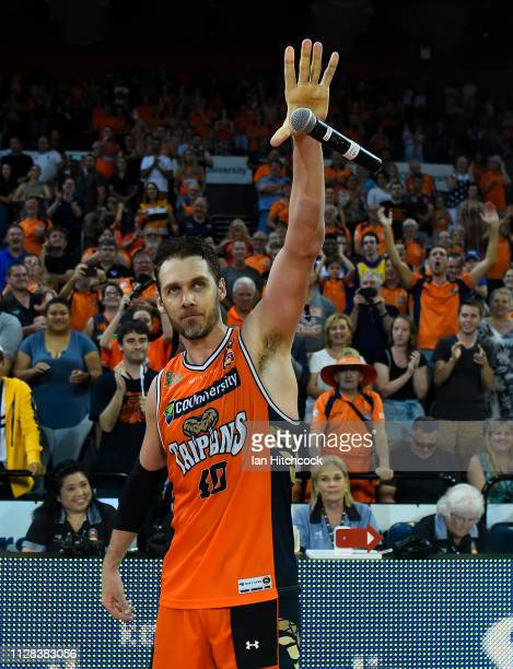 Alex Loughton of the Taipans drops the mic after winning and playing his last home game before he retires at the end of the round 17 NBL match...