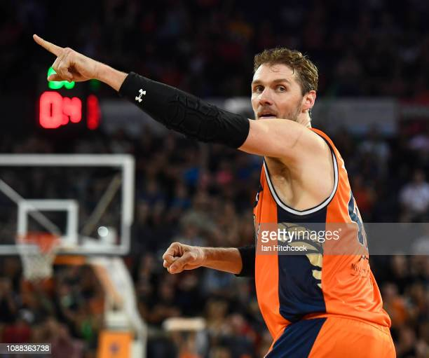 Alex Loughton of the Taipans gestures during the round 11 NBL match between the Cairns Taipans and the Perth Wildcats at Cairns Convention Centre on...