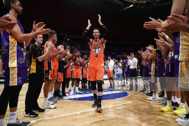 Alex Loughton of the Taipans is clapped from the court after playing his last game during the round 18 NBL match between the Sydney Kings and the...