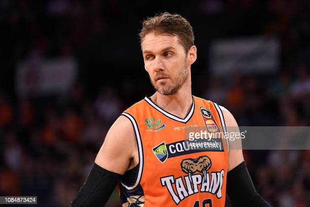 Alex Loughton of the Taipans looks on during the round 10 NBL match between the Cairns Taipans and the Sydney Kings at the Cairns Convention Centre...