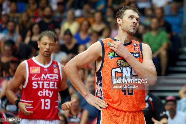 Alex Loughton of the Taipans looks on during the round 15 NBL match between the Illawarra Hawks and the Cairns Taipans at AIS on January 26 2019 in...