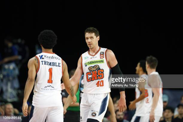 Alex Loughton of the Taipans looks on during the round five NBL match between the New Zealand Breakers and the Cairns Taipans at Spark Arena on...