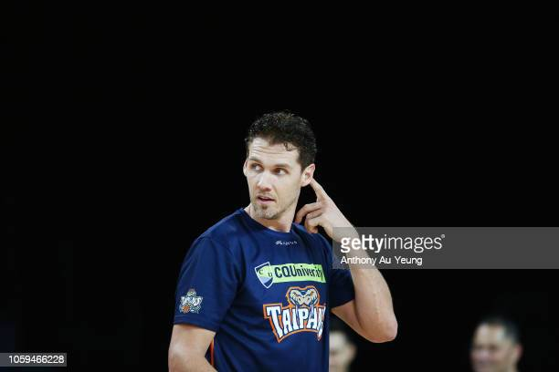 Alex Loughton of the Taipans looks on during warm up prior to the round five NBL match between the New Zealand Breakers and the Cairns Taipans at...