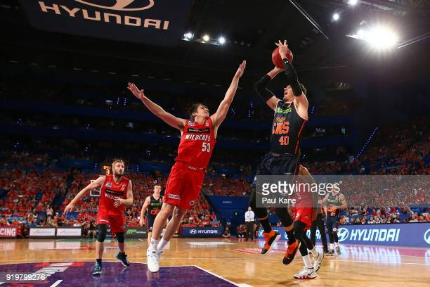 Alex Loughton of the Taipans puts a shot up during the round 19 NBL match between the Perth Wildcats and the Cairns Taipans at Perth Arena on...