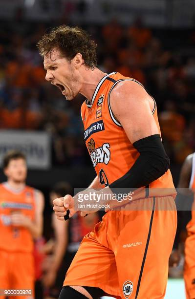 Alex Loughton of the Taipans reacts after scoring a 3 point shot during the round 12 NBL match between the Cairns Taipans and the Perth Wildcats at...