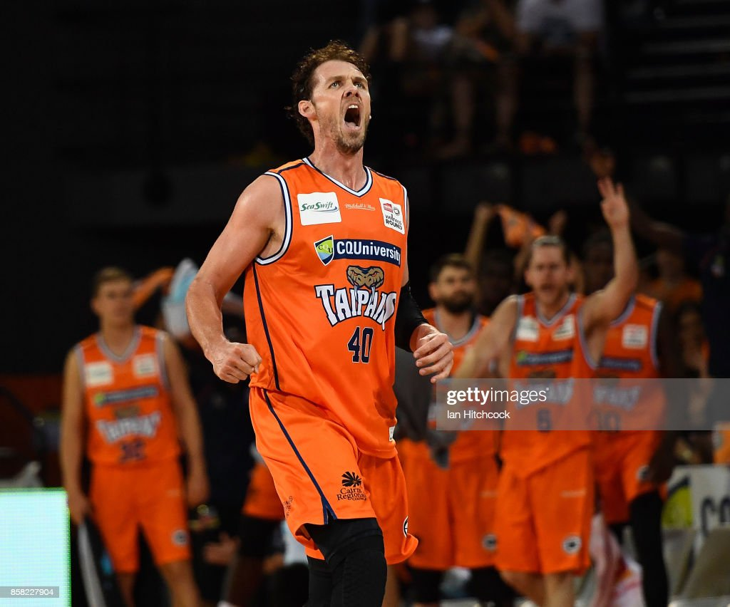 Alex Loughton of the Taipans reacts after scoring a three point shot during the round one NBL match between the Cairns Taipans and the Illawarra Hawks at Cairns Convention Centre on October 6, 2017 in Cairns, Australia.