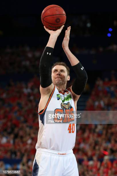 Alex Loughton of the Taipans shoots a free throw during the round eight NBL match between the Perth Wildcats and the Cairns Taipans at RAC Arena on...