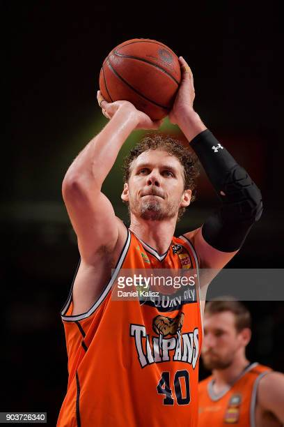 Alex Loughton of the Taipans shoots during the round 14 NBL match between the Adelaide 36ers and the Cairns Taipans at Titanium Security Arena on...