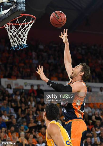 Alex Loughton of the Taipans takes a jump shot during the round 17 NBL match between the Cairns Taipans and the Sydney Kings at Cairns Convention...