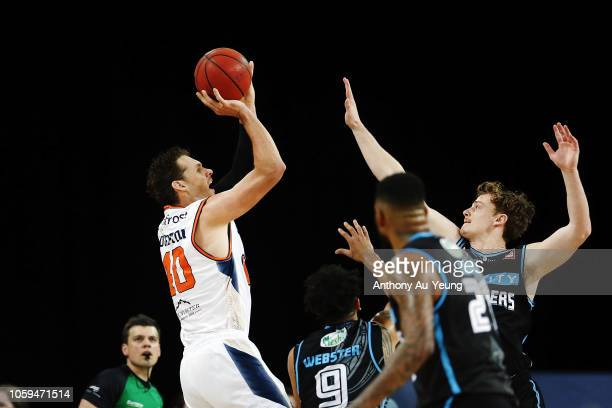 Alex Loughton of the Taipans takes a jumpshot during the round five NBL match between the New Zealand Breakers and the Cairns Taipans at Spark Arena...