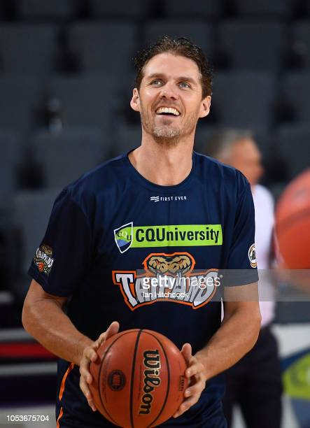 Alex Loughton of the Taipans warms up before the start of the round three NBL match between the Cairns Taipans and the Adelaide 36ers at Cairns...