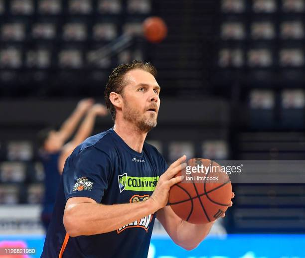 Alex Loughton of the Taipans warms up before the start of the round 16 NBL match between the Cairns Taipans and the Adelaide 36ers at Cairns...